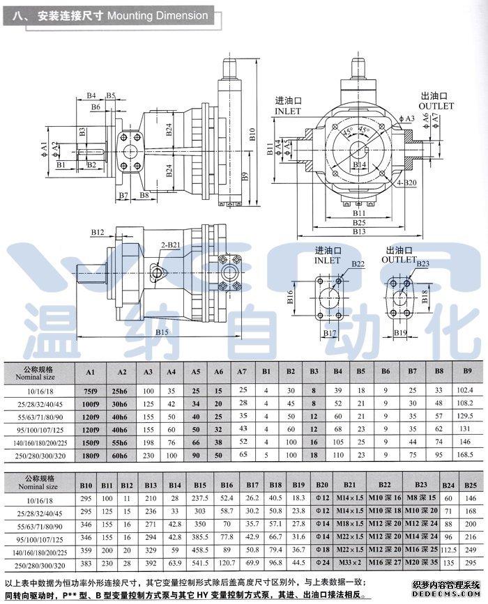 HY140P-LP HY140P-RP 轴向柱塞泵